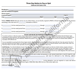 Digital #400Three Day Notice to Pay Rent or Quit