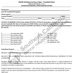 Digital #403COVID-19 Notice to Pay or Quit – Transition Period Rent