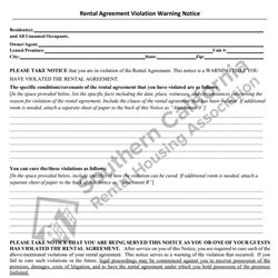 Digital #406 - Notice of Violation of Rental Agreement