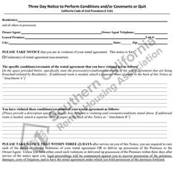 Digital #410Three Day Notice to Perform Conditions and-or Covenants or Quit