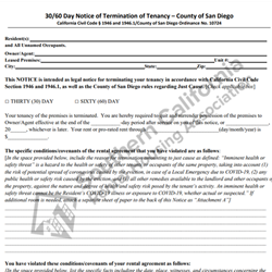 Digital #431 County of San Diego 30-60 Day Notice to Terminate