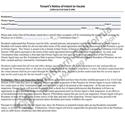 Digital #435 Tenants Notice of Intent to Vacate