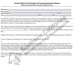 Digital #46014 Day Notice of Termination of Tenancy – Domestic Violence