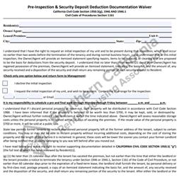 Digital #600 Security Deposit Deduction Documentation Waiver