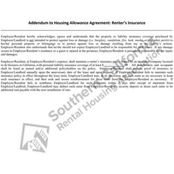 Digital #750 Addendum to Housing Allowance Agreement- Renter's Insurance