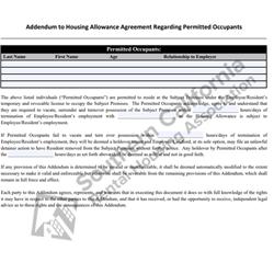 Digital #760Addendum to Housing Allowance Agreement Re-Permitted Occupants
