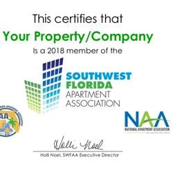 2019 SWFAA Membership Certificate