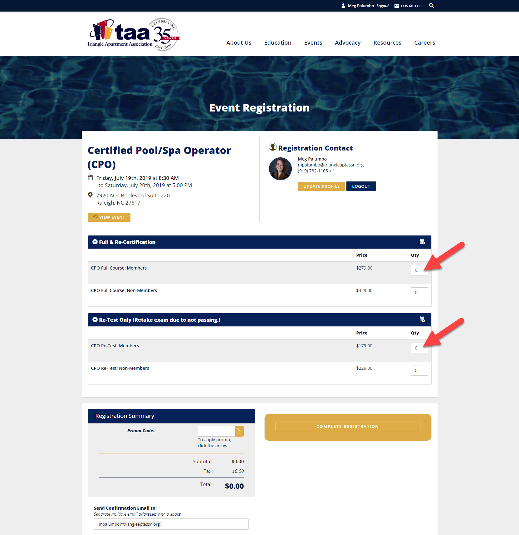 How To Register For An Event Or Class On TAA's Website