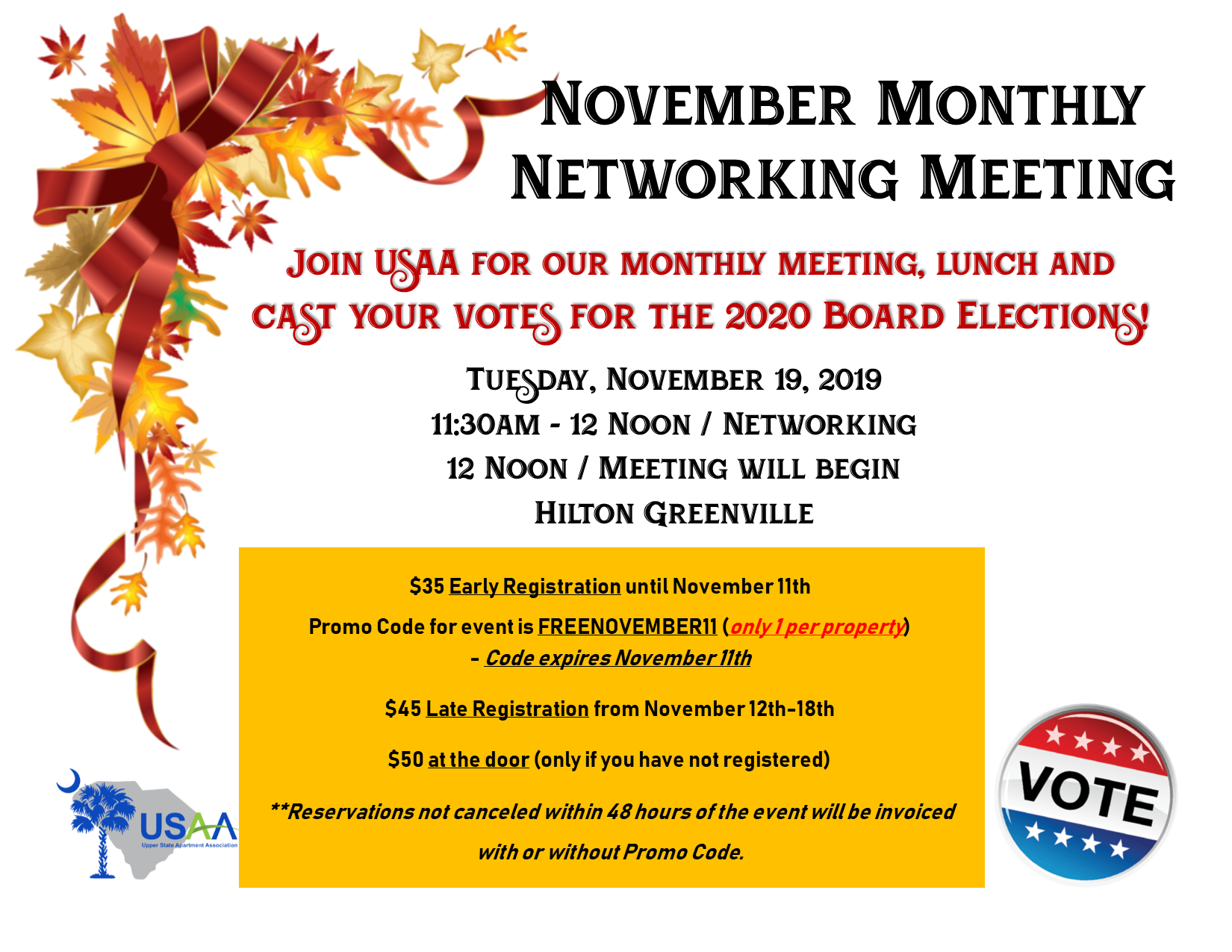 November Monthly Meeting Amp Board Elections Upper State